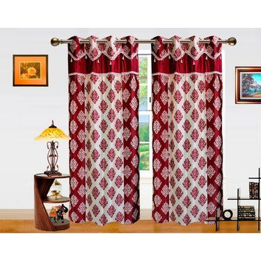 Dekor World Double Damask Lace Window Curtain-Set of 2 -DWCT-715-5