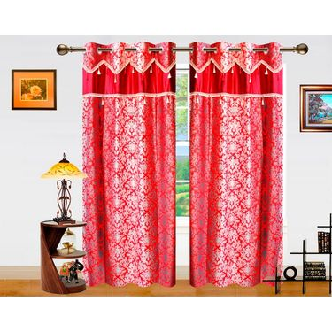 Dekor World Ombre Damask Window Curtain-Set of 2 -DWCT-761-5