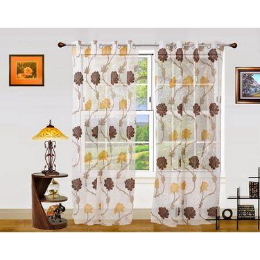 Dekor World Net Floral Window Curtain (Pack of 2)-DWCT-906-5