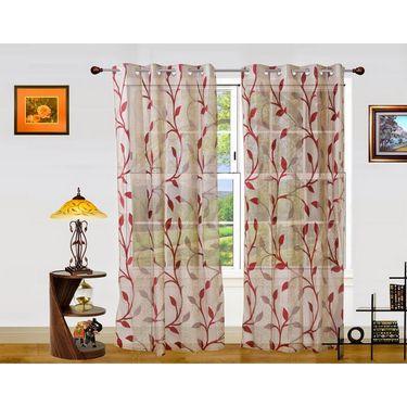 Dekor World Net Floral Window Curtain (Pack of 2)-DWCT-908-5