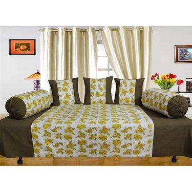 Dekor World Floral Printed Diwan Set-Pack of 6 Pcs-DWDS-099