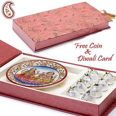 Gift Box with Kaju kalash and Laxmi Ganesh Plate_DWMB1404