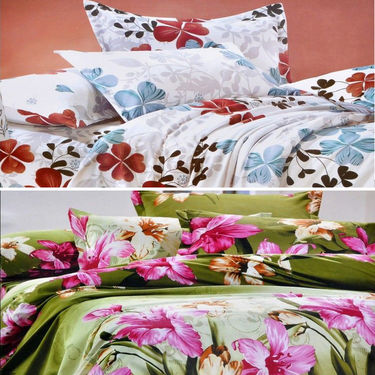Set Of 2 4D Printed Double Bed Sheet  With 4 Pillow Cover -DY-025_027