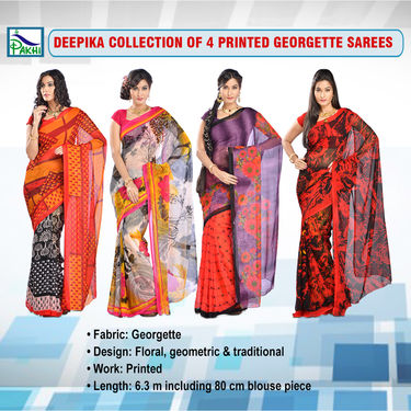 Deepika Collection of 4 Printed Georgette Sarees by Pakhi (7G25B)