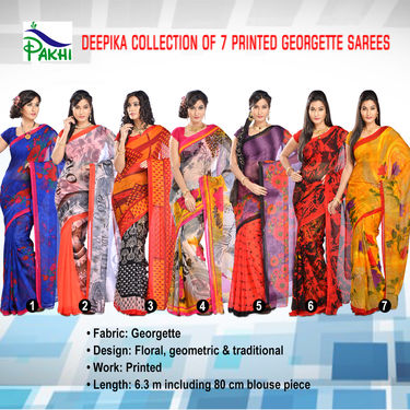Deepika Collection of 7 Printed Georgette Sarees by Pakhi (7G25)