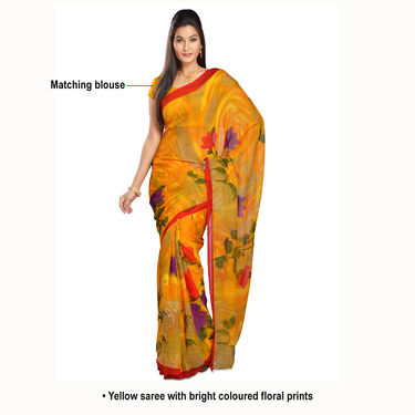 Deepika Collection of 7 Printed Georgette Sarees by Pakhi (7G25) with 7 Free Jewellery
