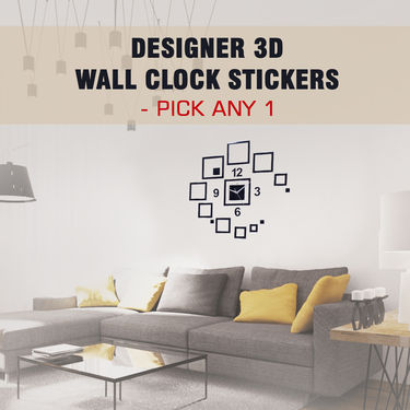Designer 3D Wall Clock Stickers - Pick Any 1