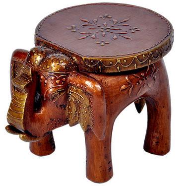 Designer Wooden Elephant Stool Handicraft Gift 304