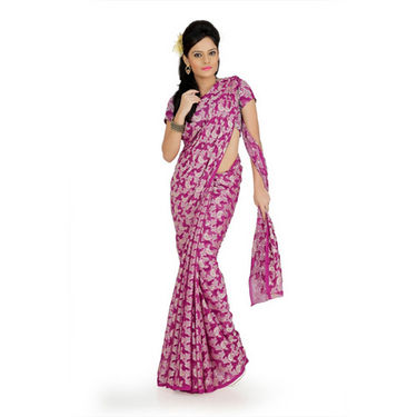 Designersareez georgette jacquard saree with blouse - Deep Magenta-725