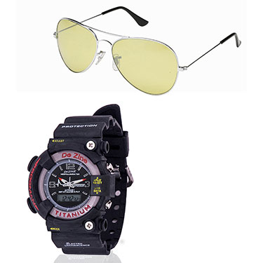 Combo of Dezine Wrist Watch + Aviator Sunglass_CMB01-BLK-YEL