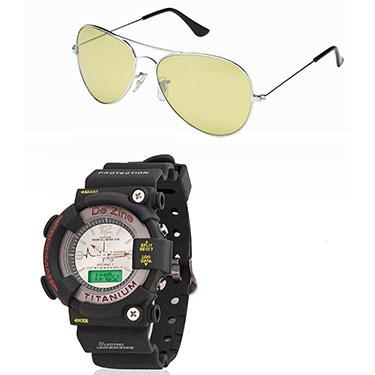 Combo of Dezine Wrist Watch + Aviator Sunglass_CMB01-WHT-YEL