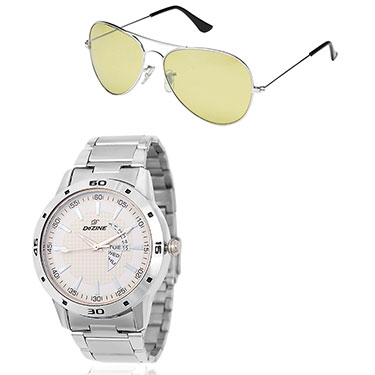 Combo of Dezine Wrist Watch + Aviator Sunglass_CMB94-WHT-YEL
