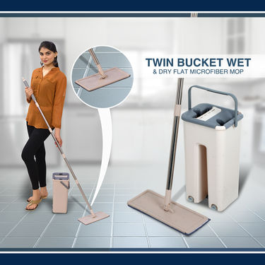 Twin Bucket Wet & Dry Flat Microfiber Mop