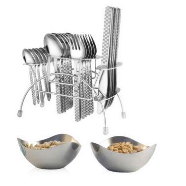 Elegante 24 Pcs. Blossom Knife Cutlery Set(Gracia) + 2 Pcs. Steel Bowl Set Free EHPECBB0002