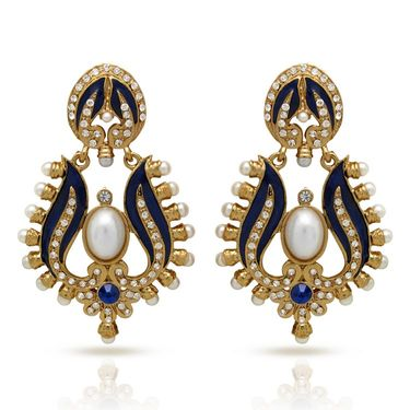 Branded Gold Plated Artificial Earrings_Er30041gblu