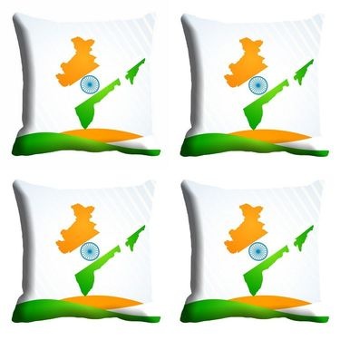 meSleep Indian Map Republic Day Cushion Cover (16x16) -EV-10-REP16-CD-005-04