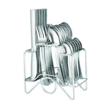 Elegante Zenith Knife Steel Look Cutlery Set - 24 Pcs With Stand EZKSLCS024