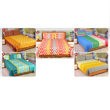 Elegant Set of 5 Cotton Rich Bedsheets (5BS16)