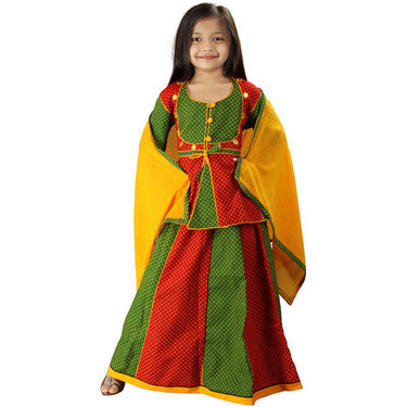 Little India Ethnic Designer Girls Lehanga Choli - Red Green - DLI3GED105A