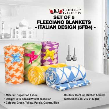 Set of 5 Fleeciano Blankets - Italian Design (5FB4)