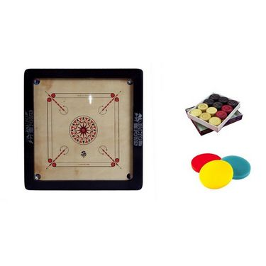 Facto Power Carrom Board - 8 Mm (35 X 35 Inch, 3X1.5 Inch Border) + Free Striker And Playing Counters