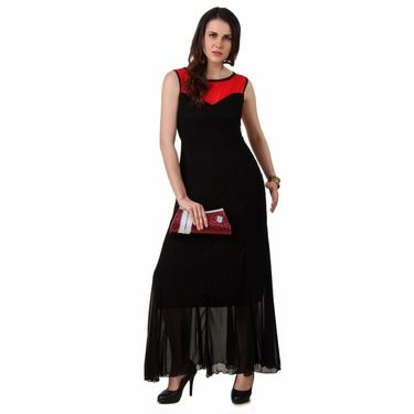 Fasense Power Net & Satin Solid Dresses  -FD001B2