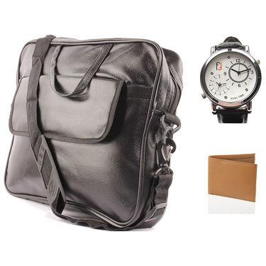 Fidato Laptop Bag + Fidato Dual Time Watch + Fidato Tan Leatherite Wallet