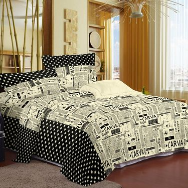 Story @ Home 240 TC 100% Cotton Black 1 Double Bedsheet With 2 Pillow Cover-FE1104