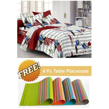 Storyathome White Contemporary 1 Double Bedsheet With 2 Pillow Cover -FE1116_TT