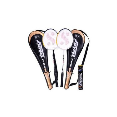 Silver'S Pack Of 2 Fire Badminton Racquets With 2 Individual Full Covers (Assorted) + 1 Box Marvel Shuttle Cock (Pack Of 10)