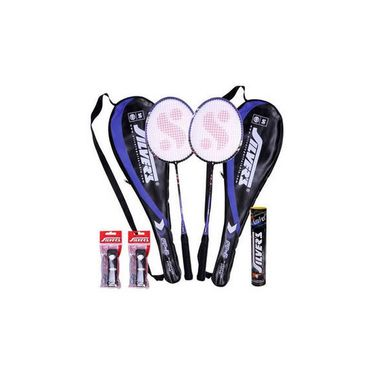 Silver'S Flex Power Combo Of 2 Badminton Racquets With 2 Individual Full Covers + 1 Box Of 10 Shuttle Cocks + Silver'S Pvc Grips