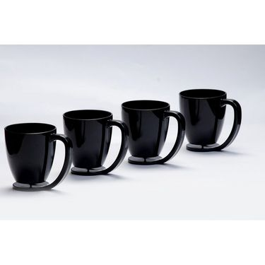 Kitchen Duniya Set of 4 Floating Mugs-Black