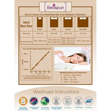 Bedspun 100% Cotton Double Bedsheet With 2 Pillow Covers-FR1402