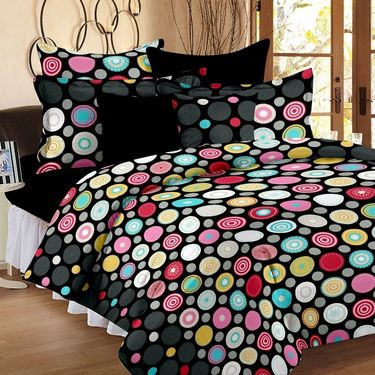 Bedspun 100% Cotton Double Bedsheet With 2 Pillow Cover-FR1406