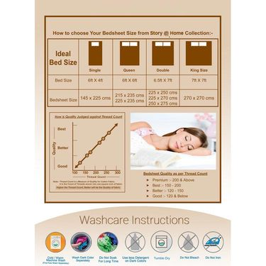 Storyathome 100% Cotton Double Bedsheet & 1 Single Bedsheet With 3 Pillow Cover -FR_1408-HY1404
