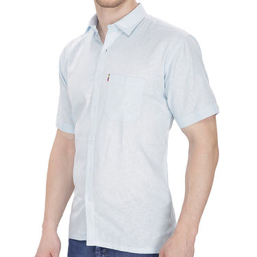 Fizzaro Plain Half Sleeves Stylish Shirt For Men_Fzls108 - Blue