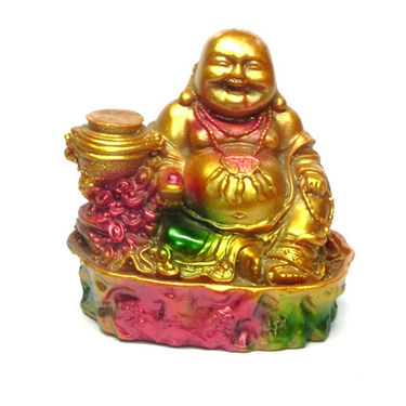 Fengshui Laughing Buddha with Pots For Prosperity - Golden