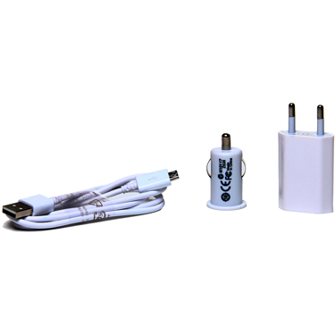 Flashmob 3 In One Universal Charging Kit (Wall Charger + Car Charger + USB to Micro USB Cable) - White