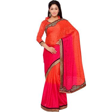 Indian Women Crepe Jacquard Printed Saree -GA20134