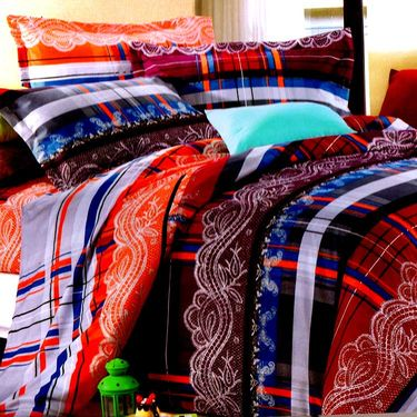 Valtellina Multicolor Design Print 2 Double bedsheet & 4 Pillow covers-GLO-17-18