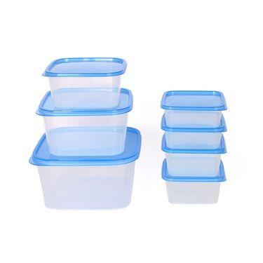 Gluman 7 Pcs Set of Plastic Kitchen Storage Container Box - Sigma Blue C1
