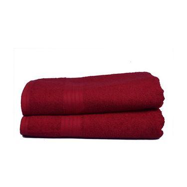 GRJ INDIA Maroon Plain Cotton Bath Towel (Set Of 2)-GRJ-2BTWL-51