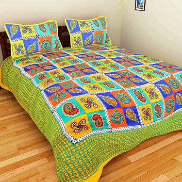 GRJ India Pure Cotton Multi Colour 3 Double BedSheet With 6 Pillow Covers-GRJ-3DB-69YL-68OG-70PL