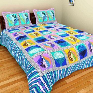 GRJ India Pure Cotton Multi Colour 3 Double BedSheet With 6 Pillow Covers-GRJ-3DB-71GRN-67PL-73PL