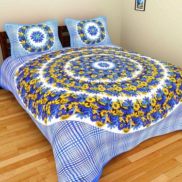 GRJ India Pure Cotton Multi Colour 4 Double BedSheet With 8 Pillow Covers-GRJ-4DB-69BL-68PL-70BL-67RD