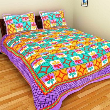 GRJ India Pure Cotton Multi Colour 4 Double BedSheet With 8 Pillow Covers-GRJ-4DB-73GRN-72GR-71PK-67PL
