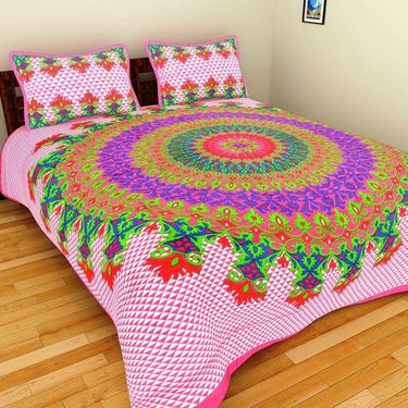 GRJ India Pure Cotton Multi Colour 8 Double BedSheet With 16 Pillow Covers-GRJ-8DB-72PK-68PK-67PL-69GRN-70GRL-73PL-71GRN-68OL