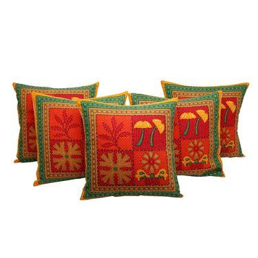 GRJ India Traditional Kantha Work  Rajasthani Print Cushion Cover Set-5 pcs-GRJ-CC-5P-23