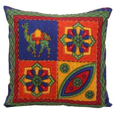 GRJ India Traditional Kantha Work Camel Print Cushion Cover Set-5 pcs-GRJ-CC-5P-36