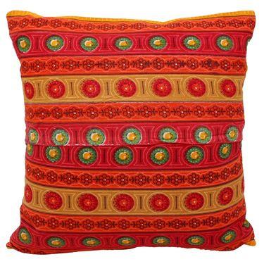 GRJ India Traditional Kantha Work  Floral Print Cushion Cover Set-5 pcs-GRJ-CC-5P-43